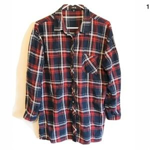 Active USA Womens Plaid Flannel Down Shirt Large